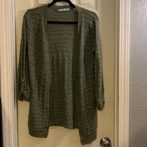 Crochet knitted olive green buttons up cardigan